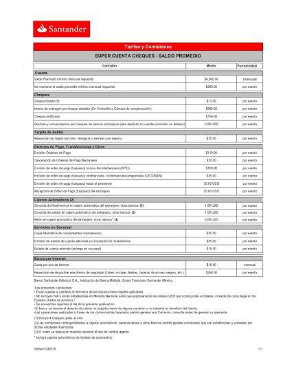 Súper Cuenta Cheques Saldo Promedio santander
